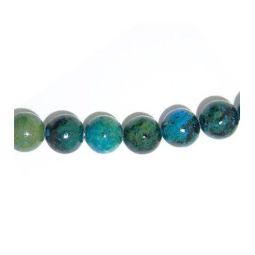 strang 45 blaugruen chrysokoll 8mm rund perlen gs5758 3 charming beads - Strang 45+ Blau/Grün Chrysokoll 8mm Rund Perlen - (GS5758-3) - Charming Beads